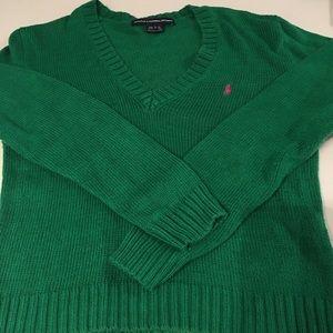 Bright green V neck sweater Ralph Lauren